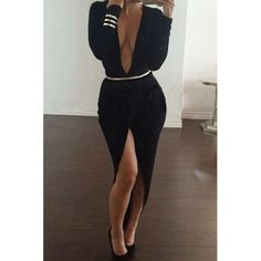 Sexy Plunging Neck Long Sleeve High-Furcal With Belt Dress For Women black red (Sexy Plunging Neck Long Sleeve High-Furcal W) by http://www.irockbags.com/sexy-plunging-neck-long-sleeve-highfurcal-with-belt-dress-for-women-black-red