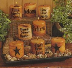 primitive decor...grubby candles...easy to do.  Link does not have DIY instructions. It's a retail store..