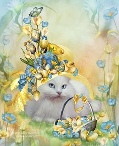 A big fluffy white cat looking so pretty in her fancy Easter hat filled with poppies so blue a yellow chick or two I see tulips, crocus, colored eggs And a butterfly, too.  Cat In Yellow Easter Hat prose by Carol Cavalaris.  This digital artwork of a whimsical white cat in a fantastical yellow Easter hat is from the Cats In Fancy Hats Collection of art by Carol Cavalaris.