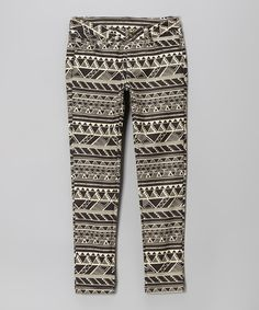 Take a look at the Miss Jeans Black & White Geometric Skinny Jeans - Toddler & Girls on #zulily today!