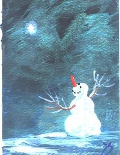 When You Wish Upon A Star Snowman mini acrylic painting by Jim Smeltz