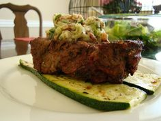 Ginger, Garlic and Citrus Rubbed Filet Mignon w/ Grilled Zucchini and Shallot Compound Butter