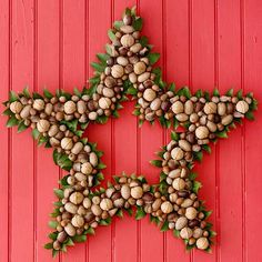 This nut-studded star wreath will add a punch of holiday cheer to your front door, as well as show holiday guests how to make Christmas wreaths with unusual materials. Wrap an 18-inch wire star wreath form with ribbon and hot-glue in place. Glue mixed nuts to the entire form in a random pattern, then glue fresh bay leaves around the perimeter of the wreath behind the nuts./