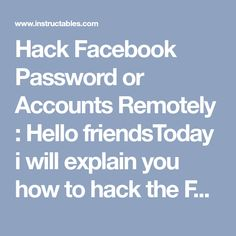 Hack Facebook Password or Accounts Remotely : Hello friendsToday i will explain you how to hack the Facebook password or accounts remotely using keylogger. Its a 100% working hack and you can easily hack anyone's Facebook account or password using this hack. i will explain you how to hack Fac... Account Recovery, Hack Facebook, Accounting, Hacks, Ali, Business Accounting, Glitch, Ant, Cute Ideas
