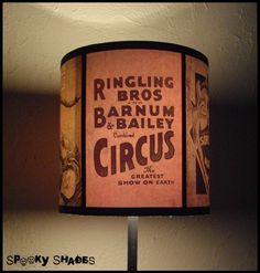 Circus Sideshow lamp shade Lampshade - circus decor, freak show, burlesque decor, boho bohemian decor