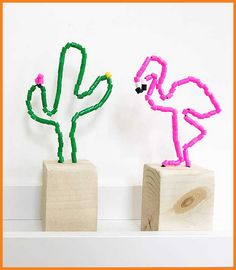 DIY perler bead flamingo and cactus sculptures Fun Crafts, Diy And Crafts, Arts And Crafts, Diy For Kids, Crafts For Kids, Flamingo Craft, Diy Y Manualidades, Maila, Craft Activities For Kids