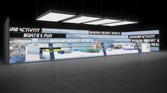 177 Wassersportgeräte Banana Resort Sports | Beeindruckender Messestand für einen Hersteller von Wassersportgeräten.   Der große Reihenstand präsentiert ein Urlaubsmotiv in Panorama Perspekti...