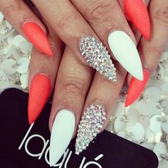 Stiletto nails Coral and white bling nails