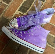 4601a6c71bc8 Wedding Converse Painted Hi Tops with rhinestone crystals