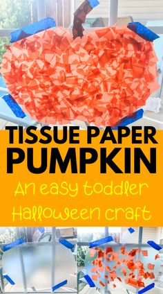 Easy Tissue Paper Pumpkin Craft Easy Halloween pumpkin craft for toddlers and preschoolers! No glue required for this contact paper pumpkin craft - super easy and no mess. Fun indoor activity and doubles as easy DIY Halloween decoration! Halloween Crafts For Toddlers, Toddler Halloween, Crafts For Kids To Make, Easy Halloween, Fall Pumpkin Crafts, Easy Fall Crafts, Cute Pumpkin, Contact Paper Pumpkin Craft, Contact Paper Crafts
