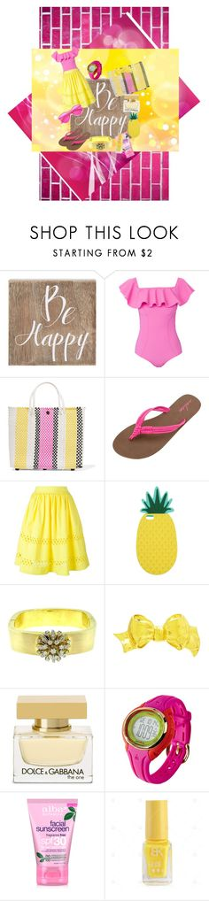 """""""Be Happy"""" by lindsaywassel ❤ liked on Polyvore featuring WALL, Belle Maison, Lisa Marie Fernandez, TRUSS, Volcom, Alice + Olivia, Miss Selfridge, Chanel, Dolce&Gabbana and Title Nine"""