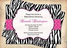 Totally use this as an invitation- change it to my info though :} Baby Shower Invitations, Party Invitations, Invites, Pink Zebra, Pink Blue, Blue Green, Hot Pink, Baby Shower Images, Baby Shower Fall