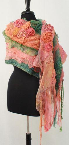 Nuno felted scarf Chunky Long Felt Shawl Textured Silk Wool Multicolor Felt Scarf Romantic Silk Wearable Art Eco Boho Fiber Art OOAK by RaisaFelt on Etsy