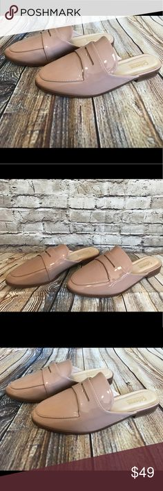 Catherine Malandrino Nude Slip-On Mules 7.5 Catherine Malandrino Slip-On Mules Faux Patent leather . Size 7.5 . New . Nude . Slight wear on bottoms from try ons at store. Please see photo of bottoms. Catherine Malandrino Shoes Mules & Clogs