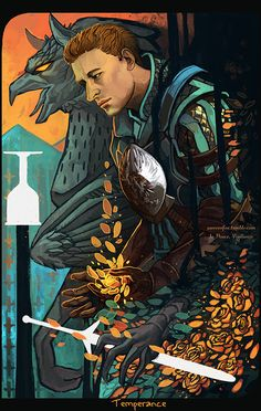 Completed tarot illustration commission of Warden Alistair for teklacat ! Theme was temperance - and to present it well I used several symbols. Griphons by today not existing creatur...