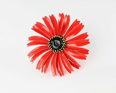 Vintage Red Gerbera Daisy Brooch flower power brooch enamel, 1960s mod brooch