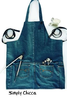 Kitchen gifts gifts for men husband gifts brother gifts handmade denim apron barbecue apron Reversible adult apron with multiple pockets for the cook in each home. Made with durable denim and canvas lining, this apron is made to last. Adjustable neck s Ha Gifts For Brother, Gifts For Husband, Brother Presents, Sewing Aprons, Sewing Clothes, Denim Aprons, Artisanats Denim, Jean Apron, Denim Ideas
