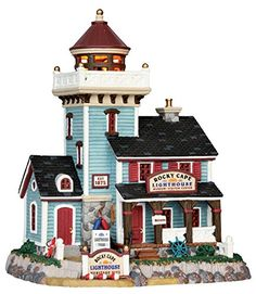 Lemax Village Collection Rocky Cape Historic Lighthouse - House of Holiday Lemax Christmas Village, Lemax Village, Christmas Town, Christmas Villages, The Sims, Sims 4, Casa Lego, Light Building, Villas