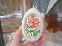 REAL Decorated Carved Goose Egg Easter Tree Ornament Decoration Red Rose Gift