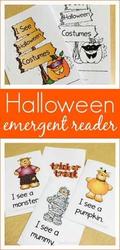 Free printable Halloween emergent reader for preschool and kindergarten kids - what a fun way to teach early literacy skills! Preschool Literacy, Preschool Printables, Kindergarten, Preschool Activities, Literacy Skills, Early Literacy, Language Activities, Learning Resources, School