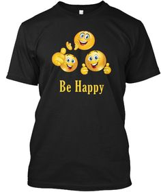 Be Happy Emoji Smiling Face Thumbs Up  Black T-Shirt Front