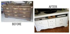 how to repurposeold cabinets into hutch tv stand | made it work for our TV after all & I love it!!