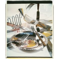 Jan Groover kitchen utensil still life, 1978, Polaroid Polacolor print.