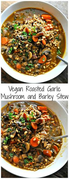 Vegan Roasted Garlic Mushroom and Barley Stew These rice krispie treat pumpkins . - Vegan Roasted Garlic Mushroom and Barley Stew These rice krispie treat pumpkins are ADORABLE and th - Fall Recipes, Soup Recipes, Whole Food Recipes, Vegetarian Recipes, Healthy Recipes, Beef Recipes, Dinner Recipes, Vegetarian Stew, Chicken Recipes