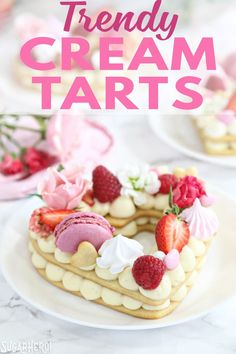 These trendy Cream Tarts are all the rage Also known as cream biscuits or cream cakes you can cut them into letters numbers or shapes and decorate them with fruits flower. Tart Recipes, Dessert Recipes, Easy Buttercream Frosting, Cream Biscuits, Cake Decorating Techniques, Decorating Cakes, Biscuit Cake, Number Cakes, Just Cakes