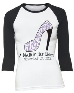 """Alpha Chi Omega - A Walk In Her Shoes is a philathropy event where men walk 5k in heels to """"walk in her shoes."""" All proceeds go to Women's Protective Services"""