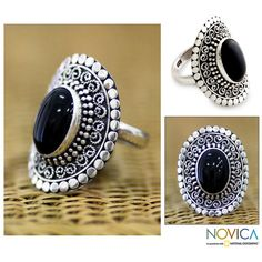 NOVICA Sterling Silver and Onyx Cocktail Ring ($42) ❤ liked on Polyvore