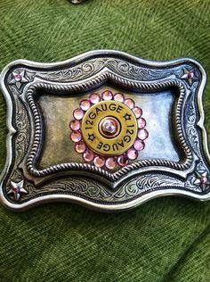 Pink 12 gauge belt buckle by Treatsmadewithlove on Etsy, $55.00