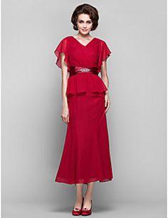 Sheath/Column V-neck Tea-length Chiffon Mother of the Bride ... – USD $ 89.99