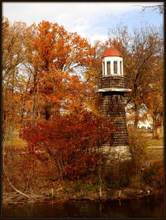 Palmer Park: Lighthouse and Fall Foliage--Detroit.   This park is just north of the city and has this lighthouse, wooded areas, and an old (no longer working) fountain that make for a very unique setting.