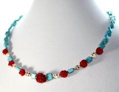 Red Rose and Turquoise Blue Statement Necklace Sugar Skulls Day of the Dead Frida Kahlo Style Jewelry on Etsy, $30.93