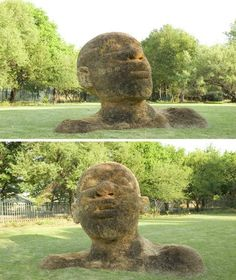 Compressed earth, rocks, grass and metals are transformed into stunning large-scale heads and figures by South African artist Angus Taylor. This particular figure is located on the grass at the Botanical Gardens in Potchefstroom, South Africa.