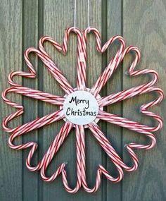 Candy Cane Door Wreath, Creative Wreath Ideas for Christmas, http://hative.com/creative-wreath-ideas-for-christmas/,