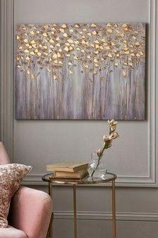 Next Gold Birch Trees Small Canvas - Gold Decor, Gold Wall Art, My Room, Gold Birch, Tree Canvas, Diy Wall Decor, Grey And Gold, Birch Tree, Wall Art Uk