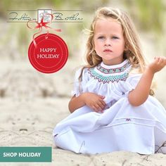 If you're looking for the perfect dress for your little girl this Christmas, this is it!! This bishop smocked Holiday dress has diamond smocking, hand embroidered rose buds and leaves, puffed sleeves, french lace trim, & beautiful fine pintucks! Available in sizes 3m-4t! Check out our full holiday collection up on our site! ❤ http://feltmanbrothers.com/search.php?search_query=holiday