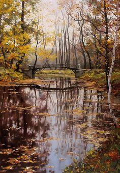 Adamov, Alexey (b,1971)- Bridge in Woodland (Sm-446x640) -2b