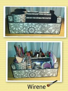 Reciclaje de cajas de fresas: Organizador de cosméticos