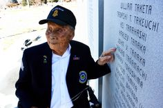 """Joe Sakato points to the name of his friend Saburo Tanamachi, who died in his arms during the WWII battle to rescue the """"Tecas Lost Battalion. Japanese American, Asian American, Tadashi, Wwii, Pop Culture, Battle, Arms, About Me Blog, Lost"""