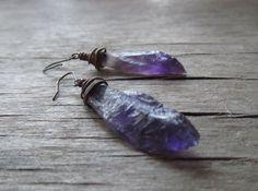 Raw amethyst earrings  gemstone earrings  copper by PixiesForest, $22.00