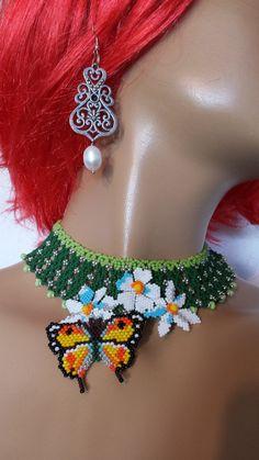 Flower Bracelet, Flower Necklace, Flower Brooch, Beaded Necklace, Seed Bead Flowers, Beaded Flowers, Beaded Jewelry Patterns, Beading Patterns, Collar Tribal
