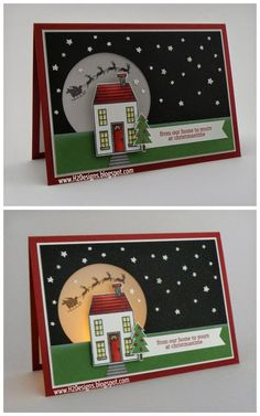 Helen H., Designs: Tealight Christmas Card for The Paper Players' Black Tie Challenge (TPP Homemade Christmas Cards, Stampin Up Christmas, Christmas Cards To Make, Xmas Cards, Homemade Cards, Handmade Christmas, Holiday Cards, Christmas Crafts, Stampin Up Weihnachten