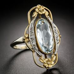 Art Nouveau Aquamarine Ring - Category:Art Nouveau Jewelry - AJU