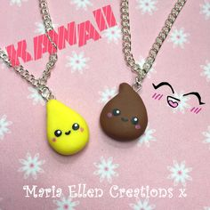 Kawaii pee and poo bff necklace set  best by MariaEllenCreations