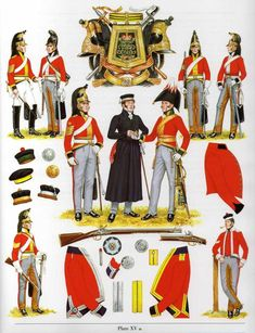 1815 heavy cavalry. The officer in the center, just to the right of the one in dark undress, is wearing the uniform of George's regiment, the 5th Dragoon Guards.