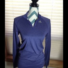 Adidas Climalite Running Top with thumb holes Cute running long sleeve top.  Thumb holes on sleeve also reflective strip and measures 22+ inches.  Soft purple blue color with fabric content 100% polyester. Adidas Tops