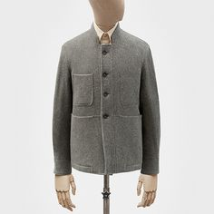 Work jacket in ash grey merino wool twill — S.E.H Kelly